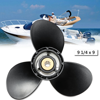 58100-93723-019 9 1/4 x 9 Boat Outboard Propeller Fit For Suzuki 8-20HP Aluminum Alloy 3 Blades R Rotation Black 10 Spline Tooth