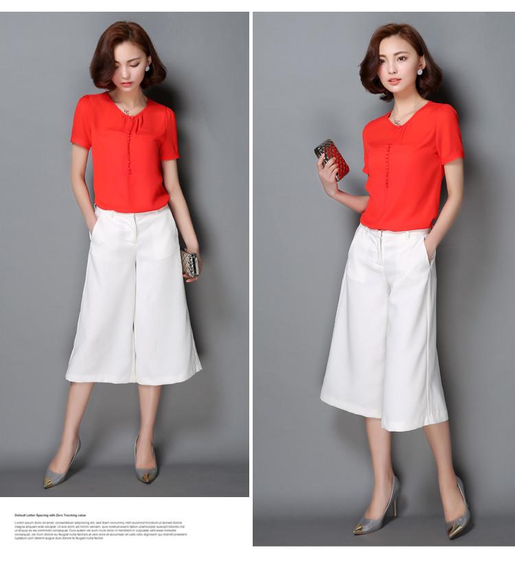 HTB19ZDmNXXXXXbwXVXXq6xXFXXXa - Casual Women Chiffon Blouse Ladies Solid Short Sleeve