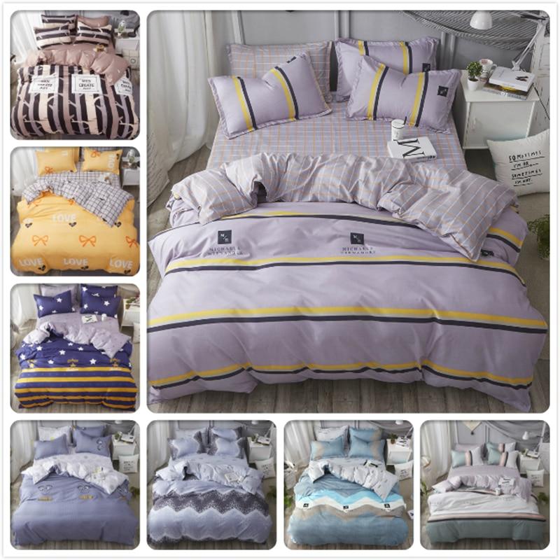 New Concise Soft Cotton Bedding Set 3pcs/4pcs Bed Linen Kids Child Grey Stripe Bedlinens Single Twin Queen King Size Duvet Cover Lovely Luster Power Source