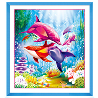 Diy 5d Diamond Embroidery Dolphins Cross Stitch Diy Diamond Painting Picture Of Rhinestones Decoration Home Adornment