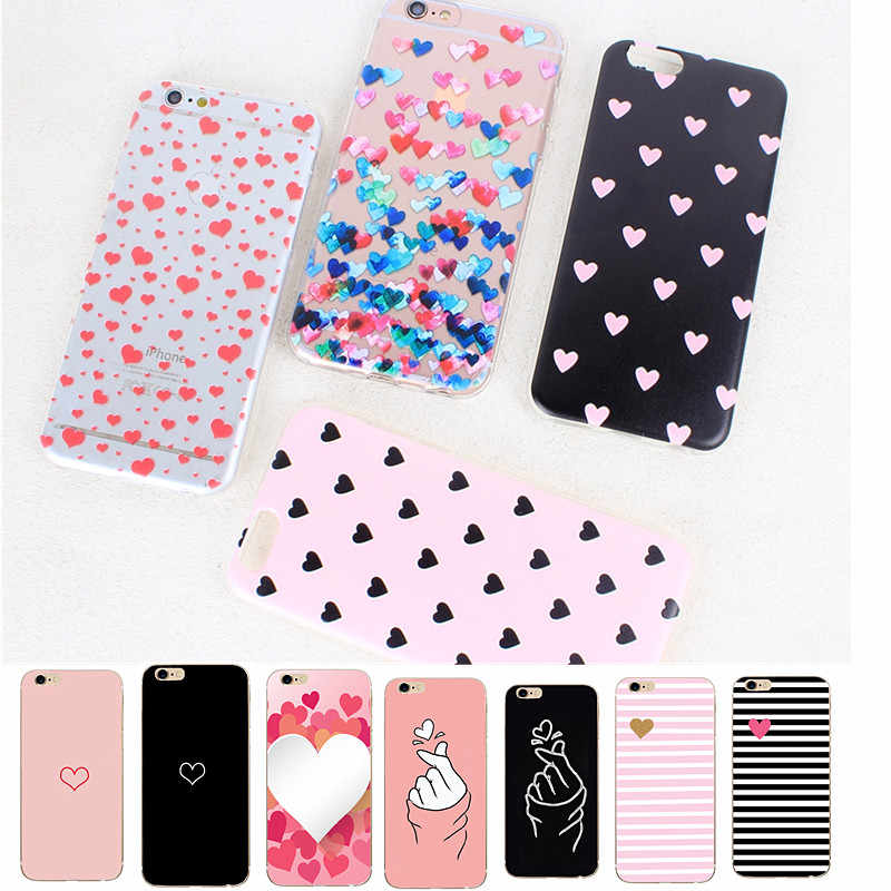 Phone Case For iPhone 6 6s 7 8 Plus X XS Fashion Cute Cartoon Ultra-thin Cute Couple Pink Love Heart Clear Soft TPU For iPhone X