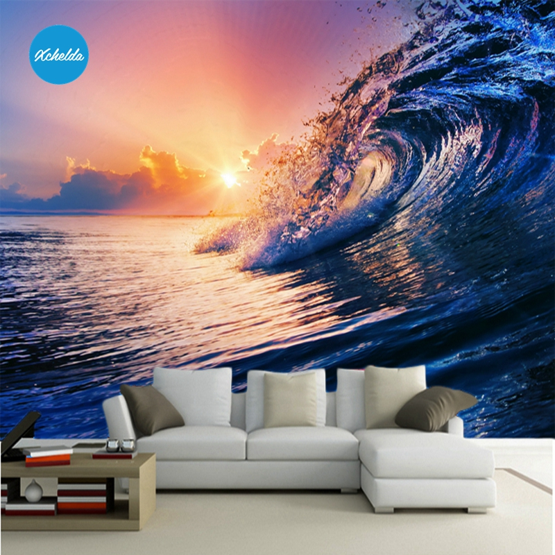 XCHELDA Custom 3D Wallpaper Design Evening Sea Photo Kitchen Bedroom Living Room Wall Murals Papel De Parede Para Quarto kalameng custom 3d wallpaper design street flower photo kitchen bedroom living room wall murals papel de parede para quarto