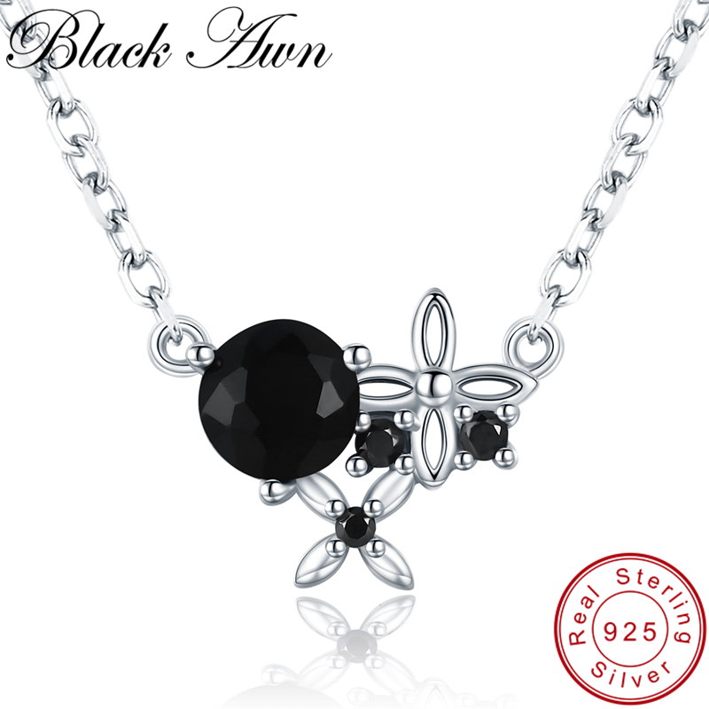 [BLACK AWN] Trendy 925 Sterling Silver Necklace For Women Flower Black Spinel Necklaces Pendants Sterling Silver Jewelry K035