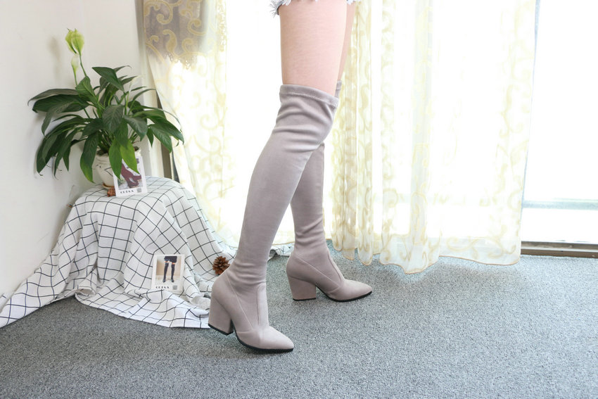 Women Hoof Heels Winter Shoes Pointed Toe Sexy Elastic Fabric Boots 78