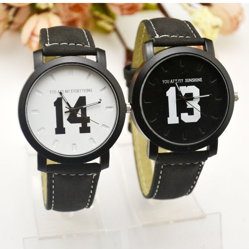 The 1314 Big Numbers Korean Version Of The Harbin Harbin Black And White Couple Watch Korean Fashion Street Student Belt Table.