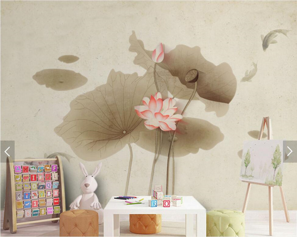 Chinese Vintage Hand Drawn Ink Lotus Wallpaperliving Room Sofa Tv