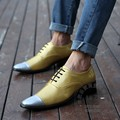 Hipster Club Shoes China Gold Dress Shoes Men Color Match Superstar Oxfords Two Tone Sexy Plain Cap Toe Yellow Pu