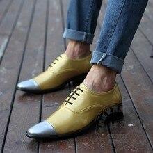 Hipster Club Schuhe China Gold Kleid Schuhe Männer Farbabstimmung Superstar Oxfords Ton Zwei Sexy Plain Cap Toe Gelb Pu
