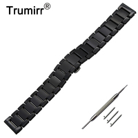 22mm Full Ceramic Watch Band For Vector Luna Meridian Butterfly Buckle Strap Wrist Belt Bracelet Black