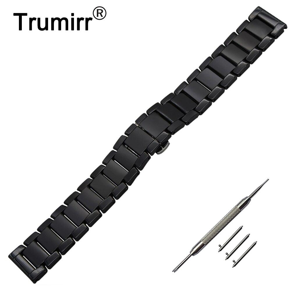 22mm Quick Release Ceramic Watch Band +Tool for Vector Luna / Meridian Xiaomi Smartwatch Huami Amazfit Strap Wrist Belt Bracelet