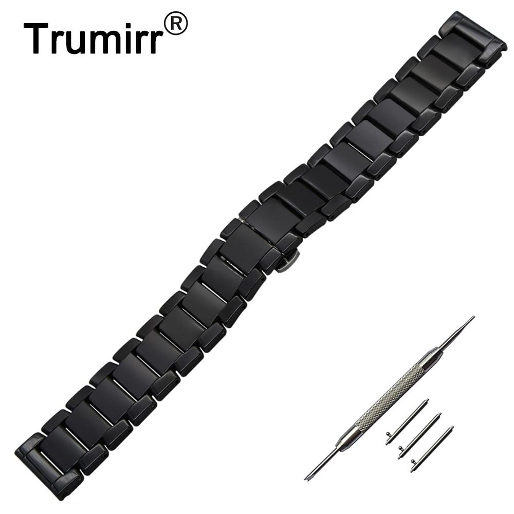 22mm Schnellverschluss Keramik Uhr Band + Werkzeug für Vector Luna/Meridian Xiaomi Smartwatch Huami Amazfit Bügel-armbanduhr gürtel Armband