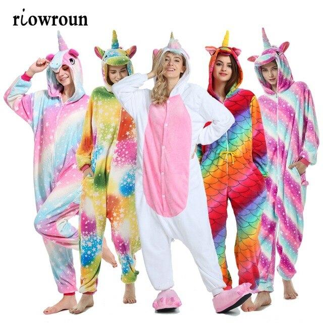 2019 חורף מבוגרים Unicorn בעלי החיים פיג 'מה סטי קריקטורה הלבשת Unicorn פיג' מה סטיץ Unicornio נשים פלנל סלעית פיג