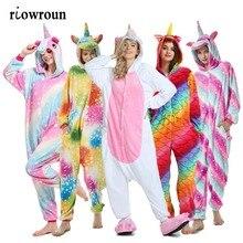 2020 Adults Unicorn Animal Pajamas Kigurumi Cartoon Sleepwear Unicorn Pajamas Sets Stitch Unicornio Women Flannel Hooded pyjamas