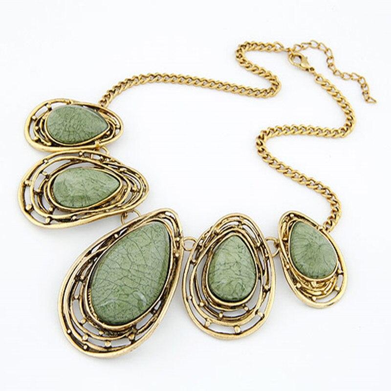 Joyas de época gargantilla moda Collar grande Collar mujeres gota de joyería agu