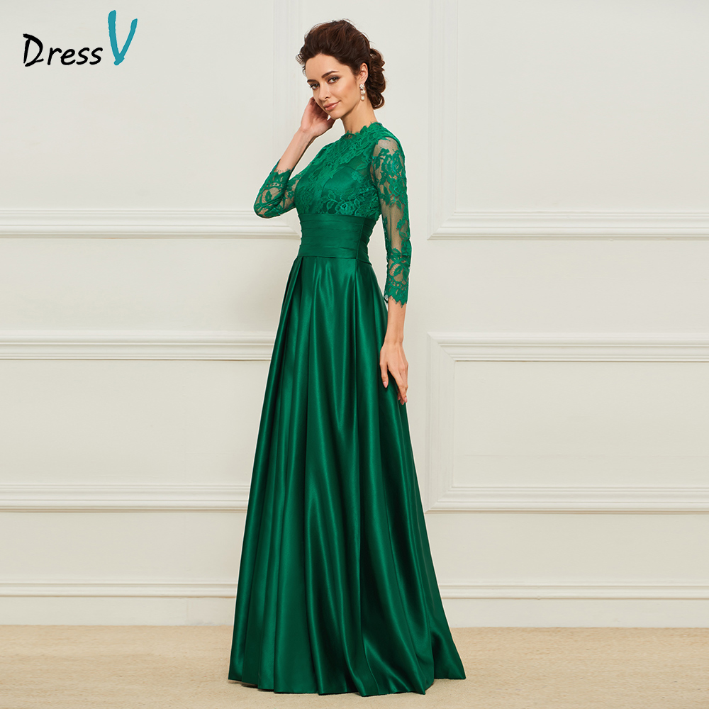 Dressv Green Long Mother Of The Bride High Neck A Line Floor Length 3/4 Sleeves Lace Formal Party Mother Of The Bride Dress