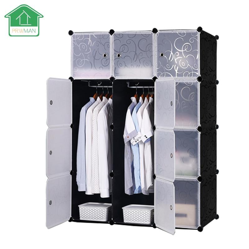 PRWMAN Black Floral Print Furniture Clothes Wardrobe DIY Magic Piece of Resin Storage Cabinets Simple Assembled Resin Wardrobe