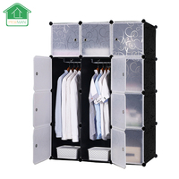 PRWMAN Black Floral Print Furniture Clothes Wardrobe DIY Magic Piece Of Resin Storage Cabinets Simple Assembled