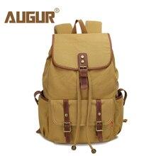 АВГУР холст рюкзак женский кожаный ремень Школа стиля и сумка рюкзак для женщин путешествия 14 дюймов ноутбук сумка Mochila Feminina