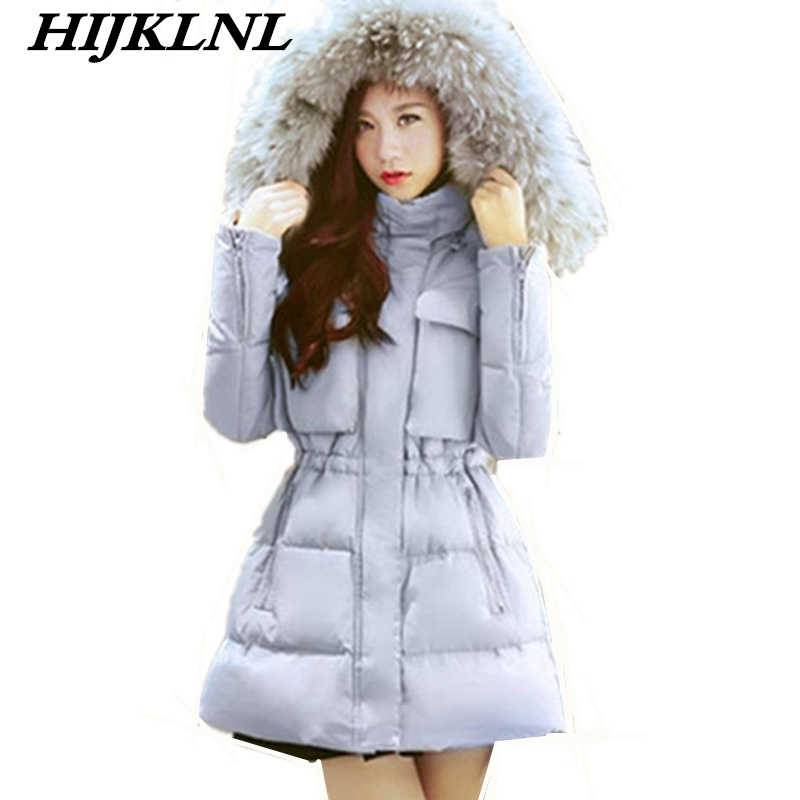 2019 New Hot Women Winter   Down     Coat   Loose Large Size Mid-length   Down   Jacket Fashion Warm Thick Fur Collar Hooded Outerwear CW097