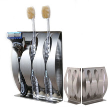 1PC Stainless Steel Three Position Two Position Self Adhesive Toothbrush Holder Bathroom Accessories in family
