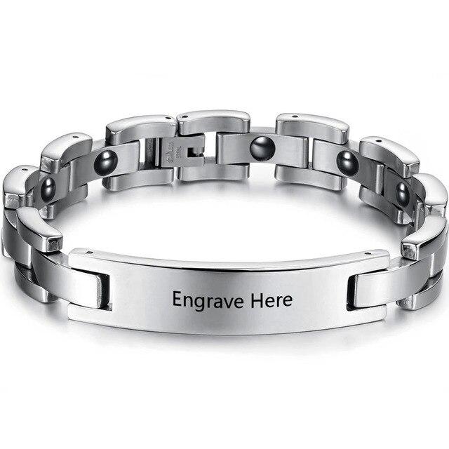 Diy Personalized Stainless Steel Men Name Bracelets Lover Engagement Birthday Gift Free Engrave Women Bracelet