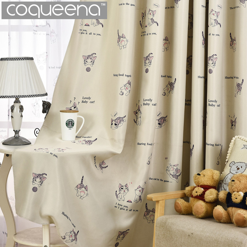 Cream Cartoon Cat Curtain For Living Room Bedroom Children Kids Room Blackout  Curtain For Kitchen Ready