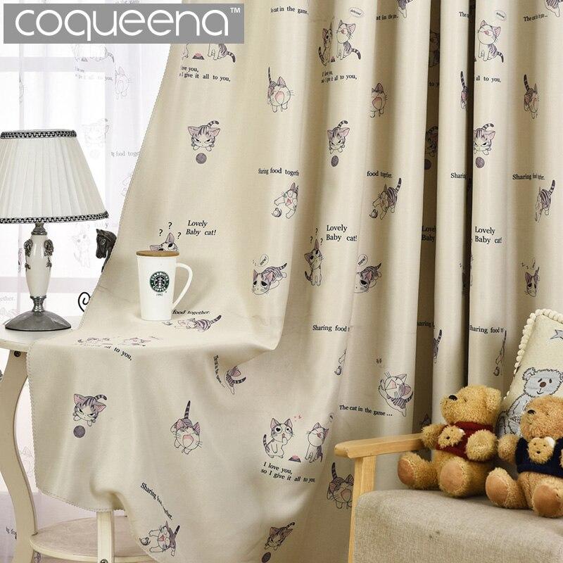 Cream Cartoon Cat Curtain For Living Room Bedroom Children