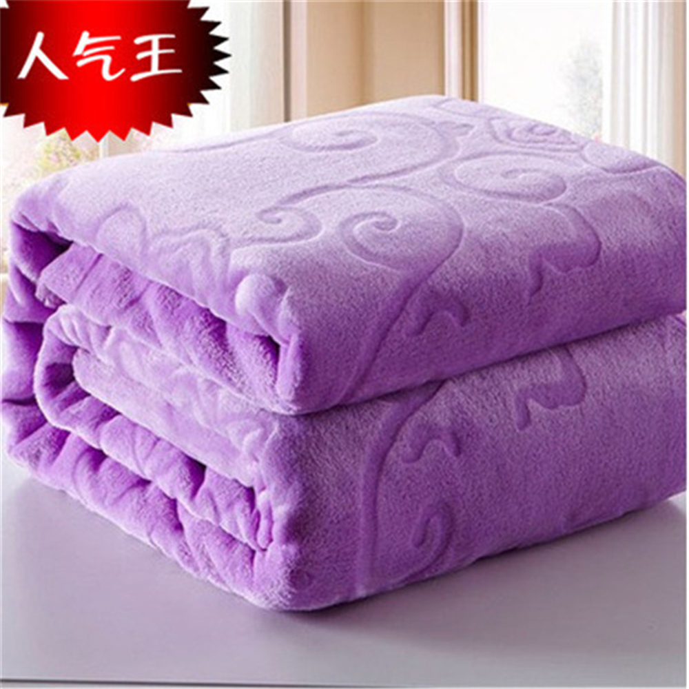 Image 5 - Blanket On The Bed Faux Fur Coral Fleece Mink Throw Solid Color  Embossed Korean Style Sofa Cover Plaid Couch Chair Blanketthe  blanketsmink throwblanket blanket