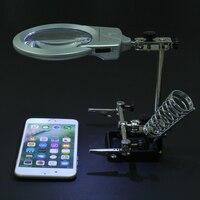6X2,5X2 Objektiv Hilfs Clip lupe Desktop Lupe Schweißen Lupe Mit LED-Licht Halter Löten Reparatur werkzeug