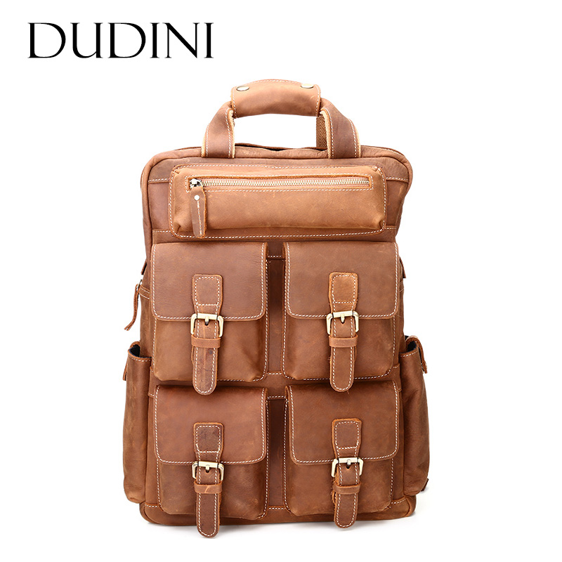 [DUDINI] Male Laptop Bags Cowhide Men Large Capacity Backpack Genuine Leather Vintage Daypack Travel Casual School Book Bags 14 15 15 6 inch flax linen laptop notebook backpack bags case school backpack for travel shopping climbing men women