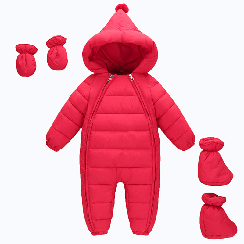 Newborn Overalls For Children 2017 Winter Down Jacket Keep Warm Baby Boy Girl Clothes Hooded Gloves