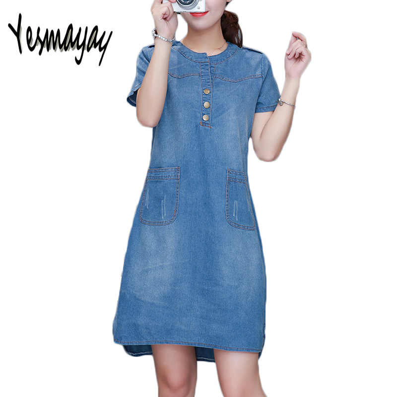 6b1a20a0e9ffe 2018 Summer Denim Dress Women Plus Size 4XL V-Neck Short Sleeve Denim Jeans  Dress Pocket Vestidos Women Clothing Dresses Robe