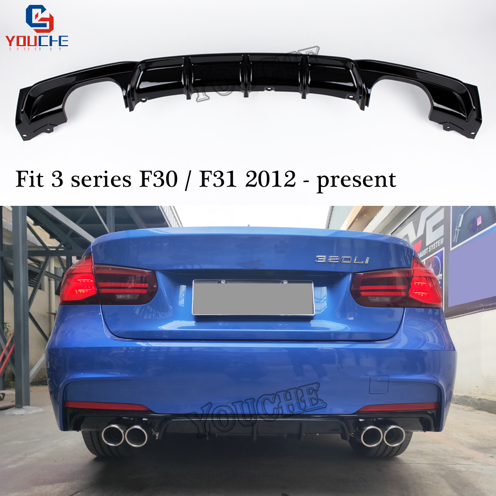 MT Style Rear Bumper Diffuser Lip for BMW F30 F31 Sedan Estate 2012 320i 325i 330i
