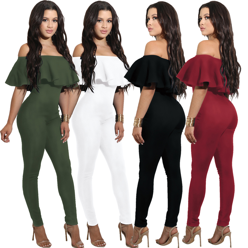 2019 Sexy Girls Playsuit Tights Rompers Womens Jumpsuit Ruffle Strapless Shoulder Slim Fit Rompers Bodysuit Jumpsuits For Women