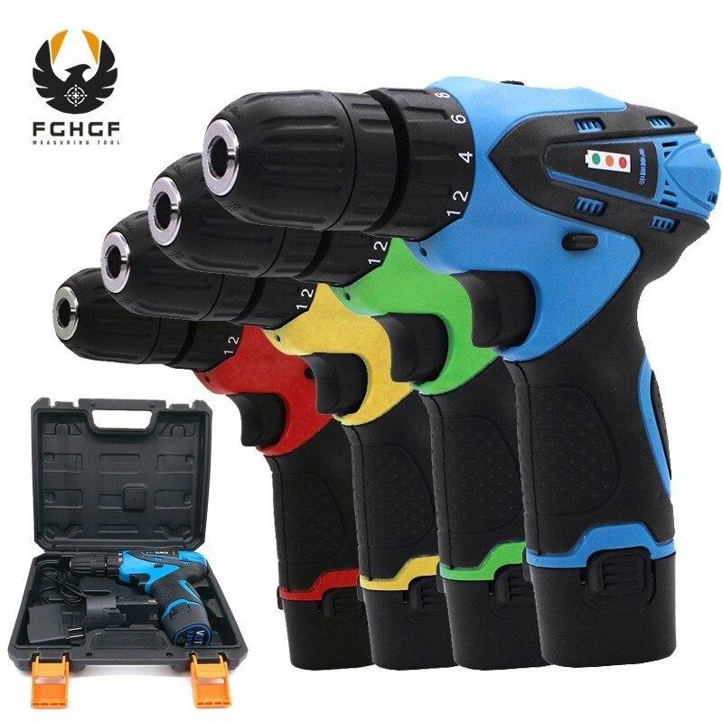 FGHGF ménage 12 V deux vitesses Miniature sans fil perceuse à main trou sans fil tournevis électrique batterie pilote électrique outil