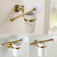 Free Shipping Wholesale and Retail High-end Carving Wall Mounted Toilet Cleaning Brush Antique Brass Toilet Brush Holder