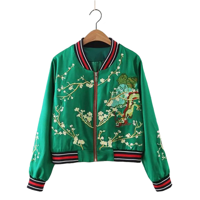Fashion Womens Embroidered Bomber Jacket Gragon Plum Floral Mountain Satin  Green Black Long Sleeve BaseBall Ladies
