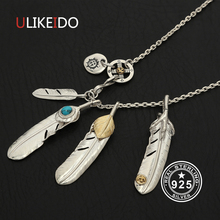 Solid 925 Sterling Silver Feather Necklace For Men Vintage Charms Takahashi Eagle Pendant Eagle Chain New Popular Jewelry P9
