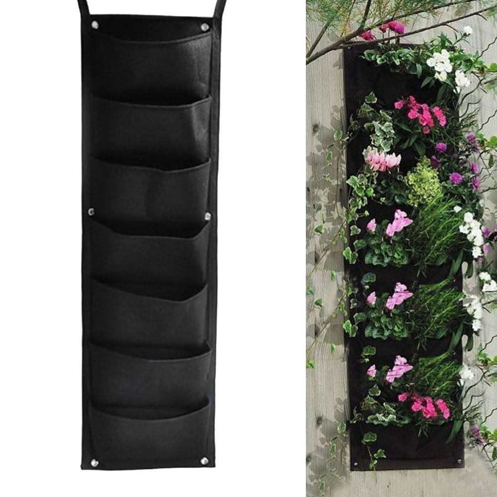 Us 9 54 29 Off Classical Wall Mounted Grow Bags Black 7 Pocket Hanging Vertical Garden Planter Indoor Outdoor Herb Pot Decor In Grow Bags From Home