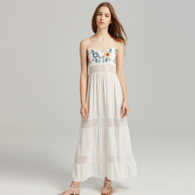 eaab2097229 Zhimoom 2018 Summer Women s New Bohemian Dress Fashion Casual White  Embroidered Tube Top Dress Hollow Patchwork Beach Dresses