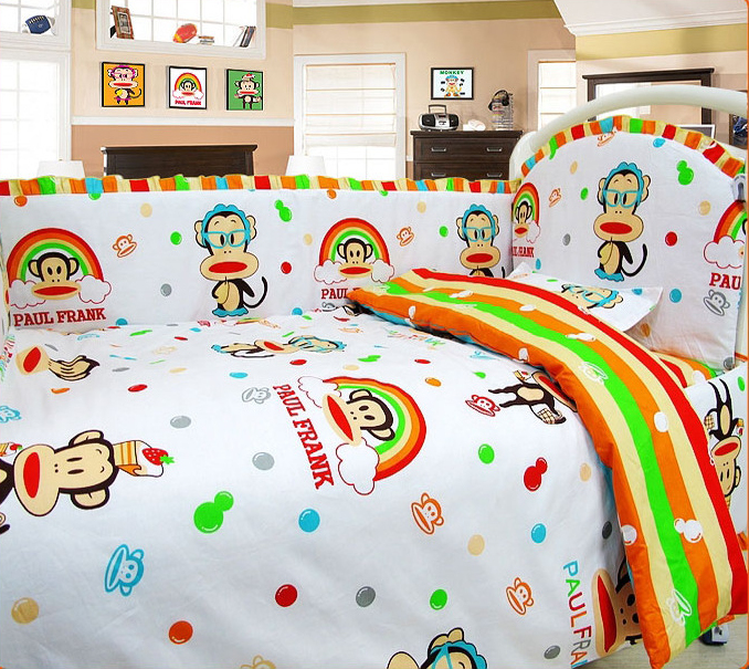 купить Newborn Baby Bedding set Cartoon Kids Crib Bed Sheets 100% Cotton Baby Bedclothes Include Pillow Bumpers Mattress Quilt недорого