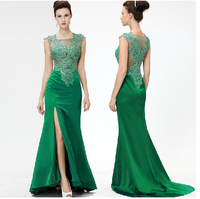 robe de soiree party 2018 lace appliques robe noire new style hot sexy green long Formal gown bridesmaid dresses