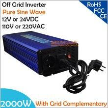 2000 W DC12V/24 V AC110V/220 В, решетки чистая синусоида солнечный инвертор или инвертор для ветроэлектростанции, совместим с электрическими сетями дополнительных Мощность инвертор