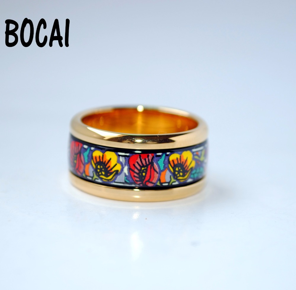 Cloisonne enamel circular fashion jewelry plated gold rings