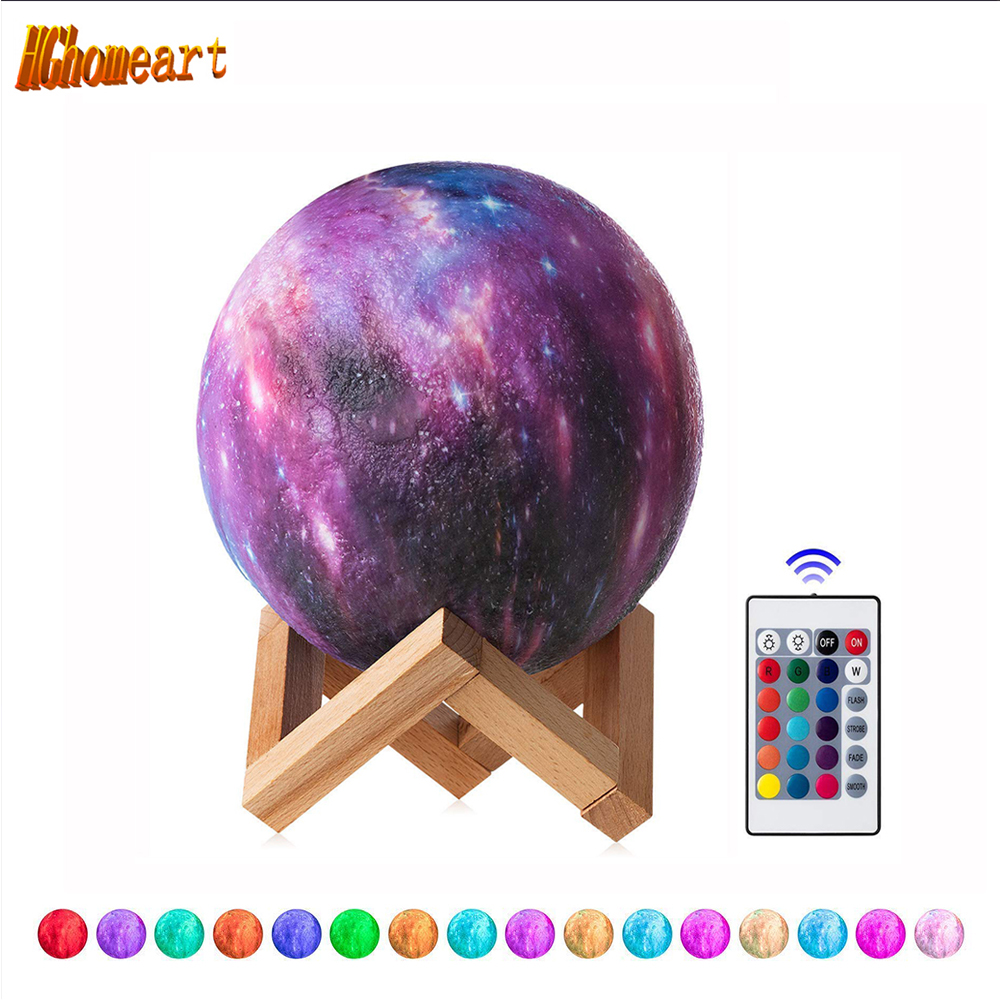 Remote Control 16 Colors Star 3D Moon Lamp  LED Night Light Luminaria  for Party Pub Concert USB Charging Painted Moon LampRemote Control 16 Colors Star 3D Moon Lamp  LED Night Light Luminaria  for Party Pub Concert USB Charging Painted Moon Lamp