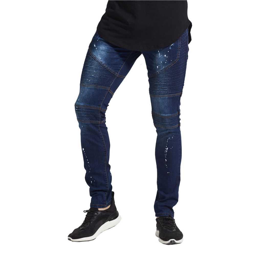 Мужские байкерские джинсы стретч, модный дизайнерский бренд, новинка 2017, обтягивающие рваные джинсы-карандаш с потертостями