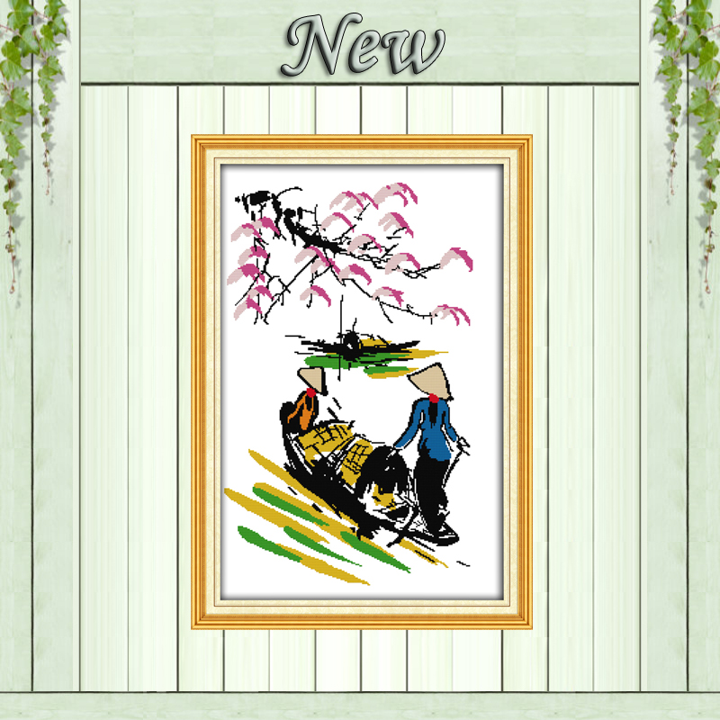 Fisherman seaside scenery diy home decor painting counted print on canvas DMC 11CT Cross Stitch Needlework Sets Embroidery kits