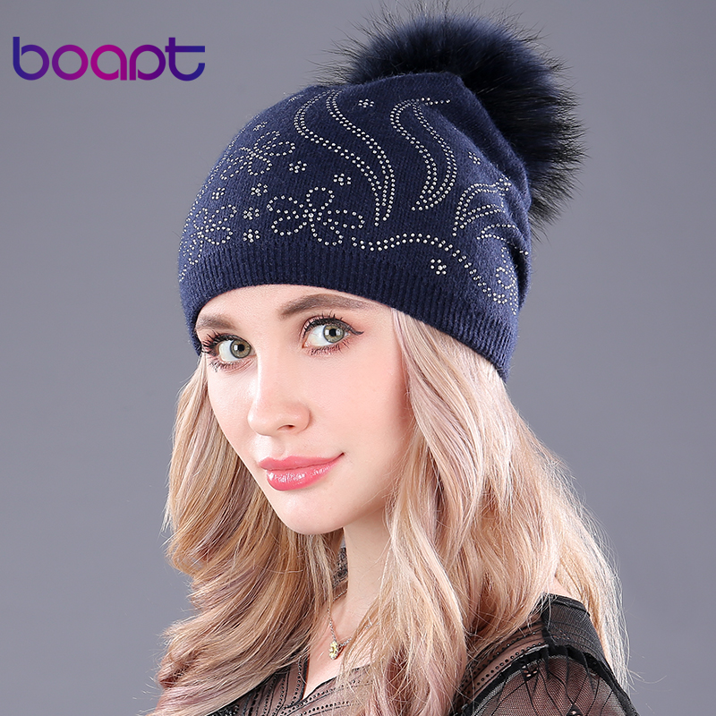 [boapt] raccoon fur pompon thick warm knitting wool women's hats diamond skullies beanies cap winter hat for women girls caps wuhaobo the new arrival of the cashmere knitting wool ladies hat winter warm fashion cap silver flower diamond women caps