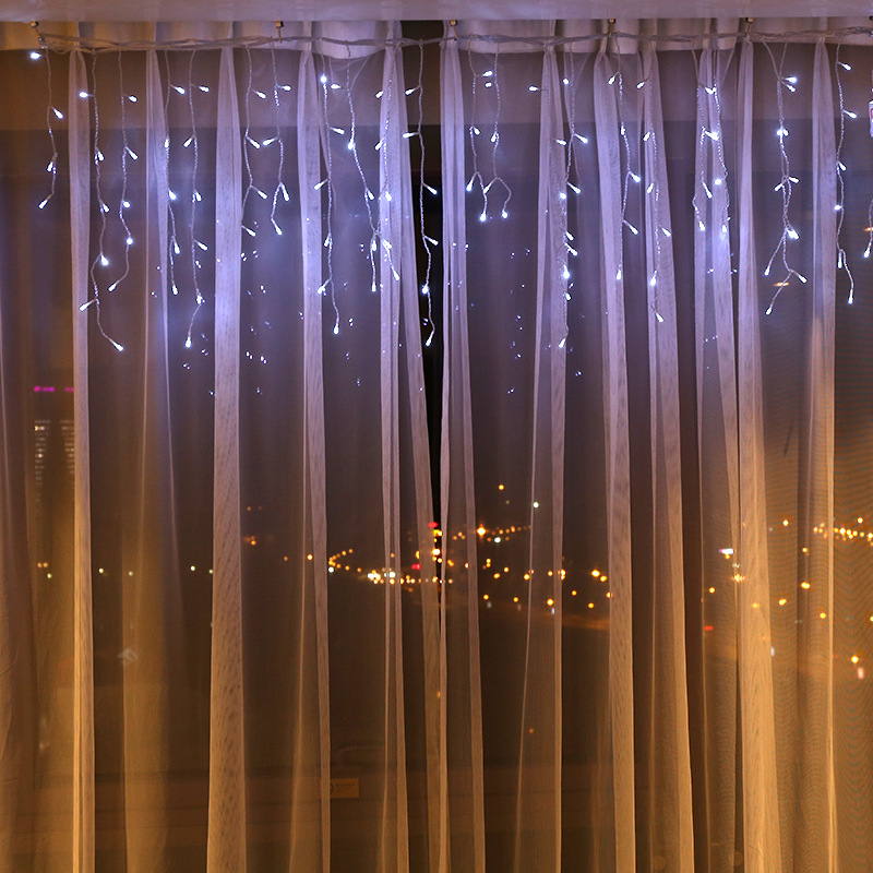 Christmas Lights Outdoor Decoration 4M Wide 0.6M 5M Wide 0.8M Droop Led Curtain Icicle String Lights New Year Wedding Light