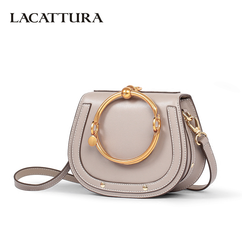 цены на LACATTURA New Handbag Women High Quality Leather Shoulder Bag Small Wristlets Saddle Messenger Bags Lady Clutch Crossbody Bag в интернет-магазинах